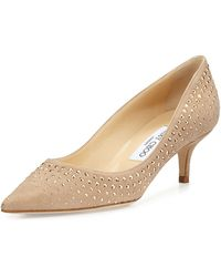 Jimmy Choo Aza Studded Suede Pump - Lyst