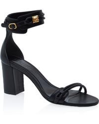 Alexander McQueen Black Goldtone Skull Leather Sandals - Lyst