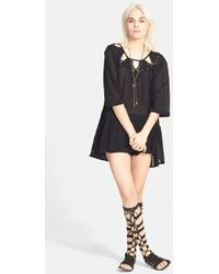 Free People Sun and Moon Tunic black - Lyst