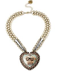 Betsey Johnson Gold-Tone Crystal Bulldog Cameo Pendant Necklace - Lyst
