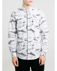 Topman Grey Mountain Print Shirt - Lyst