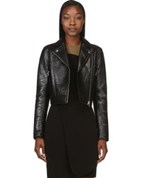 T By Alexander Wang Black Grained Lambskin Biker Jacket - Lyst