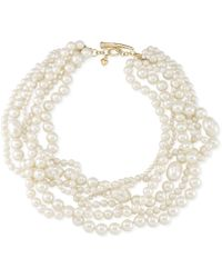 Carolee 12k Goldplated Multirow Glass Pearl Torsade Necklace - Lyst