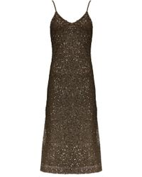 Alice + Olivia Yelena High Slit Dress brown - Lyst