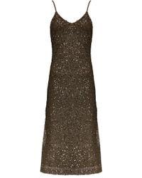 Alice + Olivia Yelena High Slit Dress - Lyst