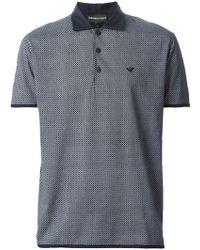Emporio Armani Geometric-Print Polo Shirt - Lyst