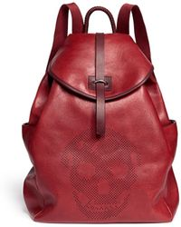 Alexander McQueen Skull Perforated Leather Backpack - Lyst