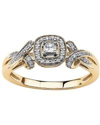 Palmbeach Jewelry - 1/7 Tcw Princess-cut Diamond Halo And Bow Ring In 10k White Gold - Lyst
