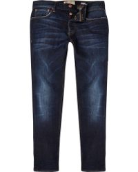 River Island Dark Wash Sid Skinny Stretch Jeans - Lyst