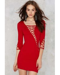 Nasty Gal | Margaux Lace-up Bodycon Dress - Red | Lyst
