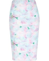 River Island Pink Floral Print Pencil Skirt - Lyst