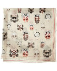 Alexander McQueen Mask Square Scarf - Lyst