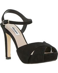 Dune Marleen Crossed Strap Heeled Suede Sandals - For Women black - Lyst