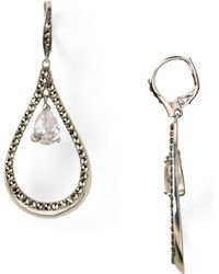Judith Jack Sterling Silver Marcasite Teardrop Cubic Zirconia Earrings - Lyst