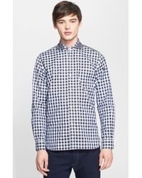 Junya Watanabe Extra Trim Fit Gingham & Floral Oxford Shirt multicolor - Lyst