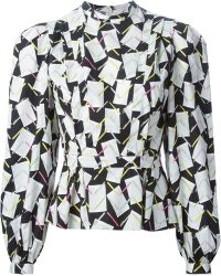 Olympia Le-Tan Paper And Pen Print Blouse - Lyst