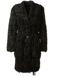 Lanvin Black Curled Kalgan Lamb Fur Coat - Lyst