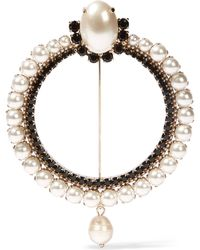 Givenchy - Brooch In Gold-tone, Faux Pearl And Crystal - Lyst