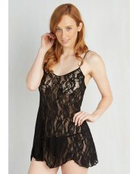 Leg Avenue - Espresso Tasting Nightgown And Thong Set In Noir - Lyst