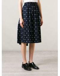 Comme des Garçons Polka Dot Midi Skirt blue - Lyst