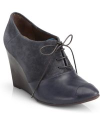 Coclico Jazmine Suede & Leather Oxford Wedge Ankle Boots - Lyst