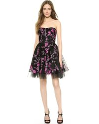 Notte By Marchesa Embroidered Strapless Cocktail Dress  - Lyst