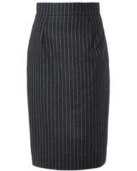 Oscar de la Renta Pinstripe Wool-Flannel Skirt - Lyst