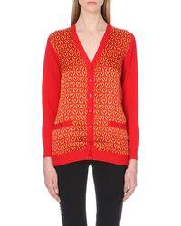 Moschino M-print Wool Cardigan Red - Lyst