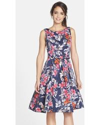 Eliza J Printed Fit-and-Flare Dress - Lyst