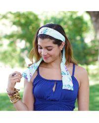 Elizabeth Koh - Aqua Floral Headband With Tassels - Lyst