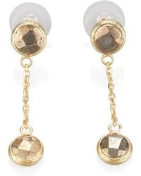 Toosis Pyrite Stone Dangle Earrings - Lyst