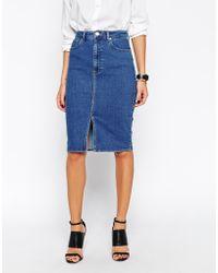 Asos Split Front Denim Midi Pencil Skirt - Lyst