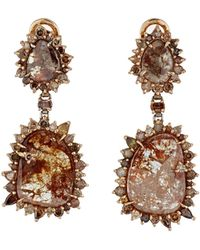 Sharon Khazzam | Brown-diamond Double-drop Earrings | Lyst