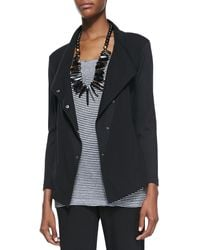 Eileen Fisher Snapfront Stretch Jersey Jacket - Lyst