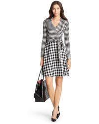 Diane von Furstenberg Dvf Amelianna Flared Silk Combo Wrap Dress - Lyst