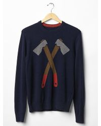 Gap Lambswool Ax Crew Sweater - Lyst