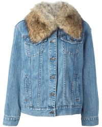 MICHAEL Michael Kors Fur Collar Denim Jacket - Lyst