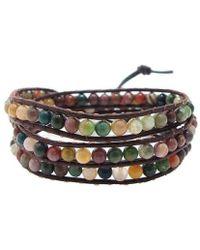 Aeravida - Seven Color Jade Tribal Wrap Leather Bracelet - Lyst