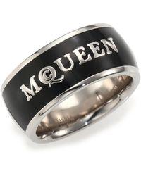 Alexander McQueen Signature Enamel Band Ring/Silvertone black - Lyst