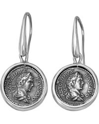 1884 Collection - Legacy Silver Medium Pius Coin Drop Earrings - Lyst