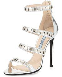 Prada Metallic Studded Strappy Sandal - Lyst