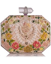 Marchesa Iris Floral Embroidered Box Clutch Bag Multi - Lyst