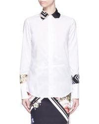 Preen | 'ida' Floral Border Print Trim Shirt | Lyst