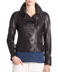Burberry Brit Isleigh Cropped Leather Jacket - Lyst