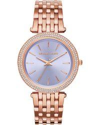 Michael Kors Darci PavÉ Rose Goldtone Stainless Steel Bracelet Watch pink - Lyst
