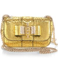 Christian Louboutin Sweet Charity Watersnake Shoulder Bag gold - Lyst