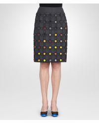 Bottega Veneta Dark Grey Multicolor Metallic Plissè Embroidered Skirt - Lyst