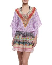 Camilla Printed Silk Drawstring Coverup Mini Dress - Lyst