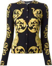 Versace Black Baroque Cardigan - Lyst