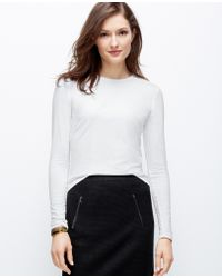 Ann Taylor Jewel Neck Long Sleeve Tee - Lyst